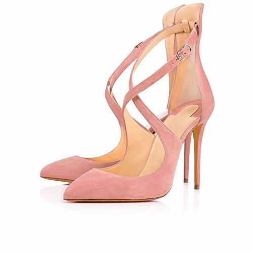 Spitze Zehen Knöchelriemen EDEFS Damen High Schuhe Lack Stilettos Pumps Heels Bequeme Pink 00YxHnW