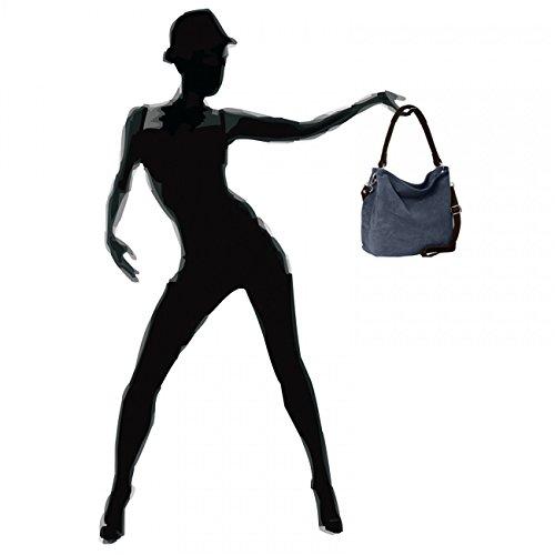 Femme L'épaule Plusieurs Daim Sac Fabriqué porté Tl580 Coloris Bleu Italie Foncé Pour À Caspar Véritable Main En FBT4xq