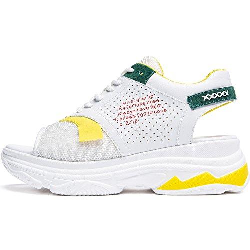 SOHOEOS Sport sandalias para Mujer Señoras verano Nuevo joven estudiante Ladies Open toe plataforma sandalias romanas señoras Amarillo