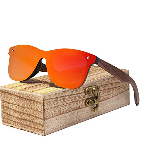 (Mens Sunglasses Polarized Walnut Wood Mirror Lens Sun Glasses Women Colorful,Red Walnut Wood)