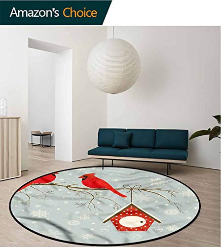 - RUGSMAT Cardinal Round Area Rug,Tree Branches Snowy Night for Home Decor Bedroom Kitchen Etc Round-63