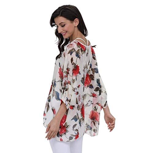 Chemise Col Blouse Rond Femme Tunique Bouffant Asymtrique Et Mousseline Plage Mode Ar B Chauve Shirt Costume Mince Motif Dsinvolte Souris Vintage Fleur Elgante Tops Chic rr7xRP
