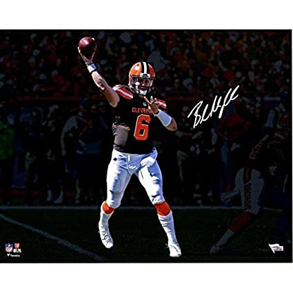 2e5bbbb90 BAKER MAYFIELD Autographed Browns 'Throwing' 16