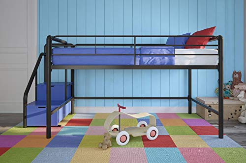 DHP Junior Twin Metal Loft Bed with Storage Steps, Space-Saving Solution, Multifunctional, Black with Blue Steps 2