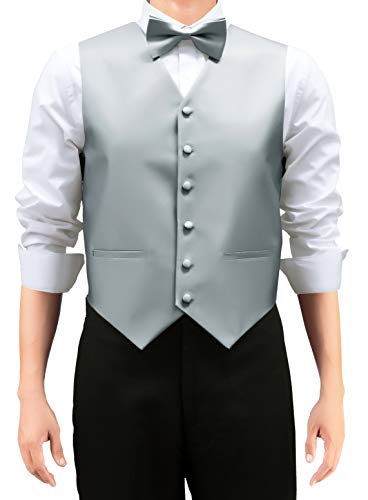 Retreez Men's Solid Color Woven Men's Suit Vest, Dress Vest Set with Matching Tie and Pre-Tied Bow Tie, 3 Pieces Gift Set as a, Birthday Gift - Grey, Medium