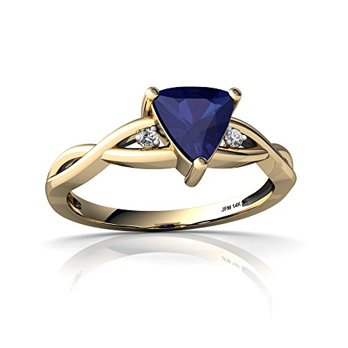14kt Yellow Gold Lab Sapphire and Diamond 6mm Trillion Twist Ring - Size 8.5 Diamond Trillion Twist Ring