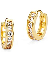 14k Gold Plated Brass Baby Channel Huggy Girls Earrings