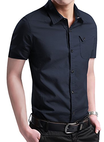 RubySports Casual Slim Fit Printed Short Sleeve Button UP Dress Shirt For Men 3160 Navy 3X