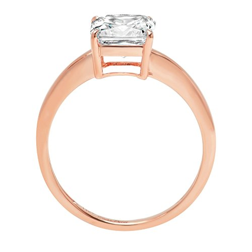 Asscher Brilliant Cut Classic Solitaire Designer Wedding Bridal Statement Anniversary Engagement Promise Ring Solid 14k Rose Gold, 1.7ct, 5.5 by Clara Pucci (Image #1)