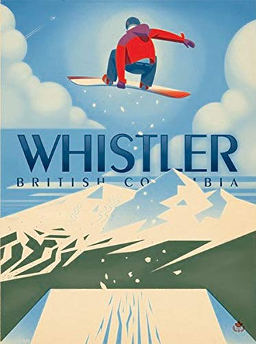 American Vinyl Vintage Art Whistler British Columbia Sticker (bc Canada Canadian ski Snowboard) (Canada Ski)