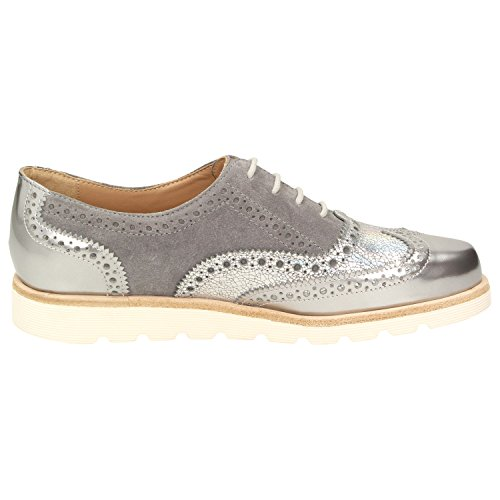 Brouge Scarpe Velika Linen Silber Argento Donna Stringate 009 Sioux Metal RwxHqngx