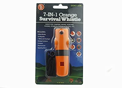 SE CCH7-1OR 7-IN-1 Survival Whistle in High-Visibility Orange from Sona Enterprises