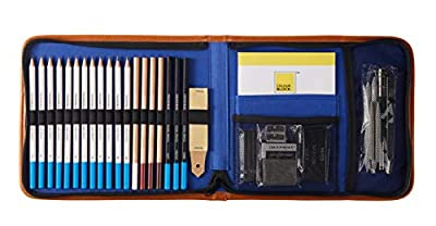 Colour Block Travel Art Set in a Canvas Zippered Case, with Sketching & Colored Pencils and Drawing Tools