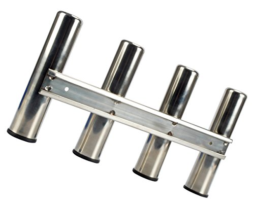4 Fishing Rod Rack, Mirror Finish Stainless Steel 316, Stainless 4 Rod Rack