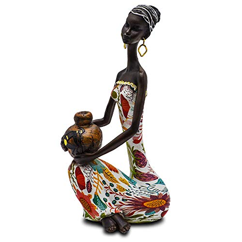 - Statue African Figurine Sculpture Colorful Dress Sitting Down Holding Vase Lady Figurine Statue Decor Collectible Art Piece 16
