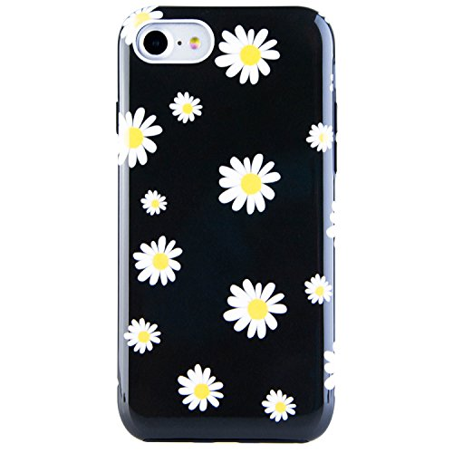 Dimaka Case for iPhone 7 Case,iPhone 8 Case, Cute Daisy Flower Floral Black Cover for Girs/Women, Flexible Slim fit, Fashion Design Pattern Drop Protective Case for iPhone -