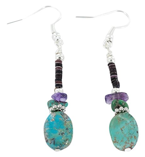 Native-Bay Authentic Made by Charlene Little Navajo Silver Hooks Dangle Natural Turquoise Amethyst American Earrings