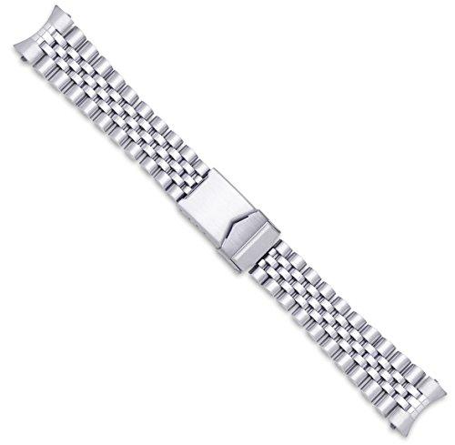 Jubilee Style Link Metal Watch Band - Silver - 20mm