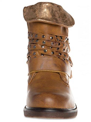 Damen Vintage Biker Boots SBO078 Camel