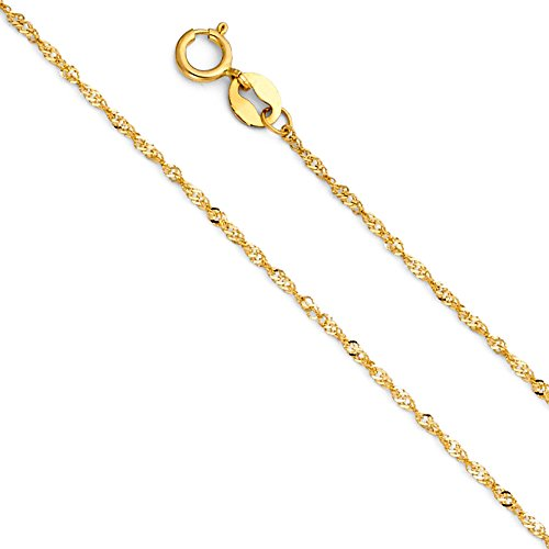 (14k Yellow Gold Solid 1mm Singapore Chain Necklace with Spring Ring Clasp - 20