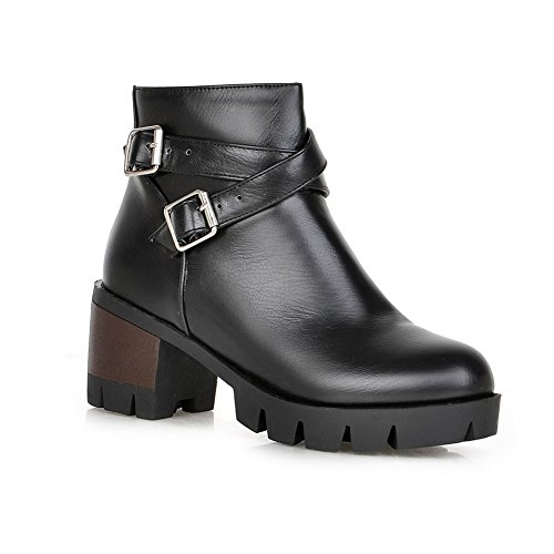 Black Boots BalaMasa Bottom Studded Gear Buckles Rhinestones Metal Womens Leather Imitated R7aqRvS
