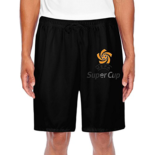 ZOENA Men's Cute Football LOGO Poster Short Training Pants Black Size M (Online Uggs Outlet)