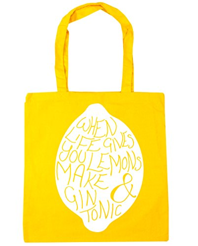 when 10 Shopping and Beach life lemons gives you gin tonic litres 42cm Tote HippoWarehouse Bag Gym x38cm make Yellow dwqavd