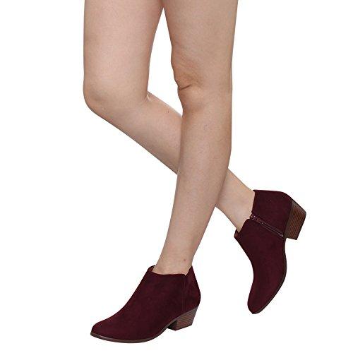 Soda Frauen Western Inside Zipper Gestapelte Heel Ankle Booties VINO FAUX Wildleder