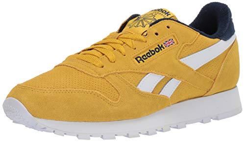 Reebok Men's Classic Leather Sneaker, Urban Yellow/Collegiate Navy, 11.5 M US
