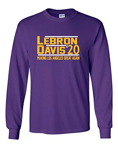 Long Sleeve Purple Los Angeles Lebron Davis 2020 T-Shirt Adult
