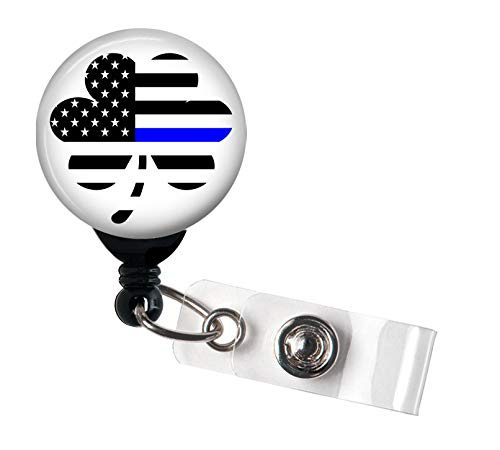 Shamrock Thin Blue Line Flag - Police Lives Matter - Retractable Badge Reel with Swivel Clip and Extra-Long 34 inch Cord - Badge Holder/Irish (Irish Retractable Badge Holder)