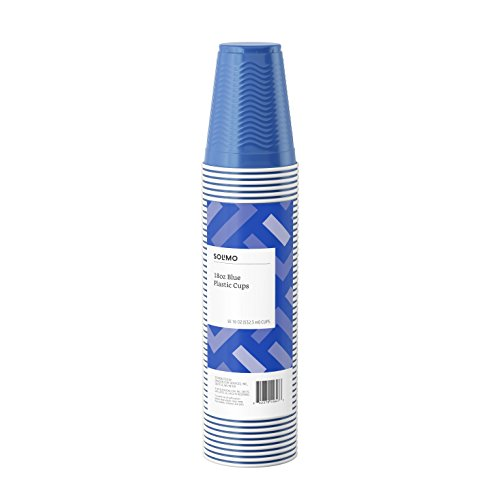 Amazon Brand - Solimo 18oz Disposable Plastic Party Cups, 50 Count, Blue