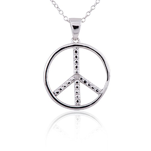 Sterling Silver Rhodium Plated Diamond Accent Peace Sign Pendant Necklace, 18