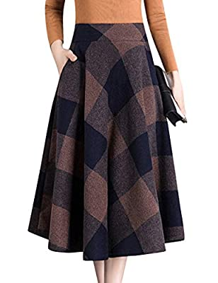 Tanming Women's Vintage High Waist Wool Plaid A-Line Pleated Knee Length Skirt