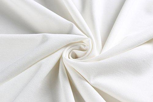 Ssyiz Mujer V-Cuello con Flores Encaje 3/4 Mangas Trabajo Cóctel MiDi Vestidos(Privado Personalizado) Blanco