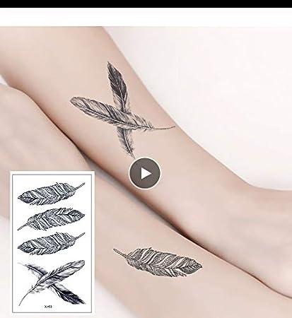 LFVGUIOP Tatuajes temporales -Arte Pluma Sexy Negro Cuerpo Brazo ...