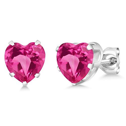 Gem Stone King 4.40 Ct Heart Shape 8mm Pink Mystic Topaz 925 Sterling Silver Stud Earrings