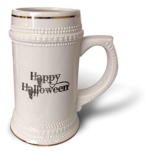 3dRose InspirationzStore - Occasions - Happy Halloween grunge grungy scary writing font dark grey text - 22oz Stein Mug (stn_318144_1) ()