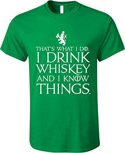 (GunShowTees Men's That's What I Do I Drink and I Know Things St. Patrick's Day Shirt, 2X-Large, Irish)