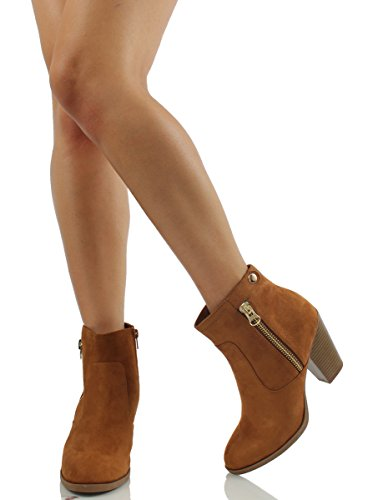 Faux Hazel accents Stacked US Bunty M Suede Cowboy Booties Heels with 7 Ankle side Soda Women's fxEqwE7