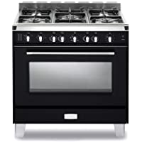 Verona VCLFSGG365E 36 Classic Gas Range with 4 cu. ft. Convection Oven 5 Sealed Gas Burners Cast-Iron Grates EZ Clean Porcelain Oven Surface and Full-Width Storage Compartment in Matte