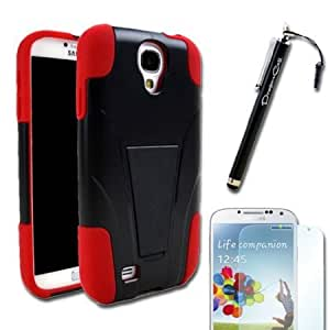 Bloutina MINITURTLE(TM) Samsung S4 i9500 Red Black Alien Hybrid 2 in 1 Dual Layer Hard Cover Layer and Silicone Shock Absorbing...