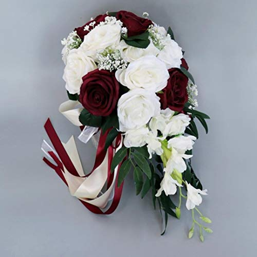 (JONARO 1 Bunch Artificial Wedding Bride Bouquet Hand Roses Tied Flower Decoration Holiday Party)