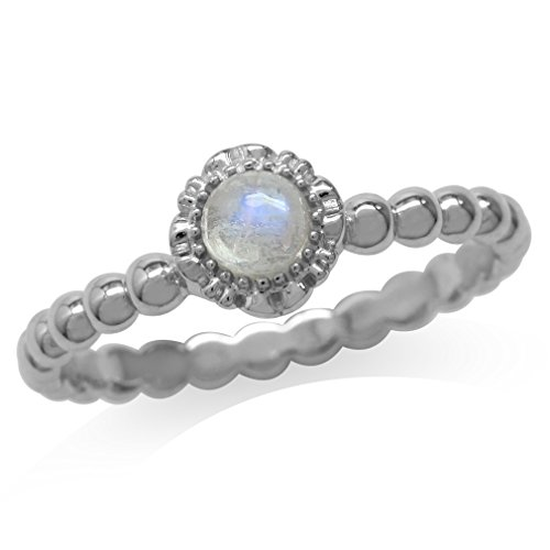 Silvershake Natural Moonstone White Gold Plated 925 Sterling Silver Flower Stack Stackable Ring Size 6 (Moonstone Ring Stackable)