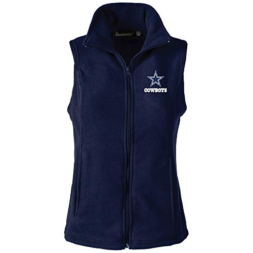 NFL Dallas Cowboys Womens Houston Ladies Fleece Vest, Navy, Large