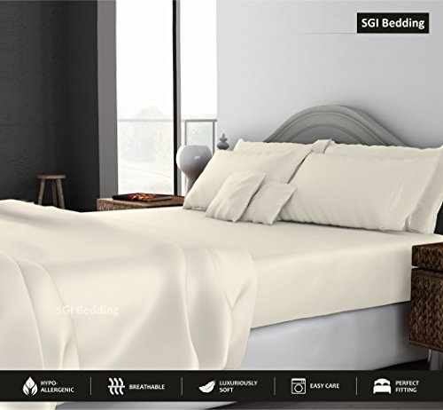 - King Size Sheets Luxury Soft 100% Real Cotton -Classic Collection Bed Sheet Set for King Mattress Ivory Solid 1000 Thread Count Deep Pocket