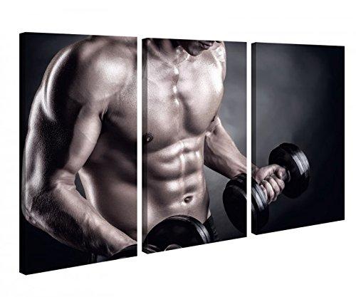 Leinwandbild 3 Tlg Krafttraining bodybuilding fitness Leinwand Bild Bilder canvas Holz fertig gerahmt 9U120, 3 tlg BxH 120x80cm (3Stk 40x 80cm)
