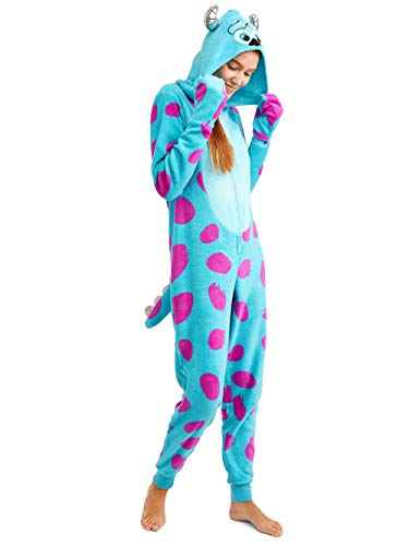 Disney Women's Faux Fur Licensed Sleepwear Adult Costume Union Suit Pajama (XS-3XL) Sully 2 -