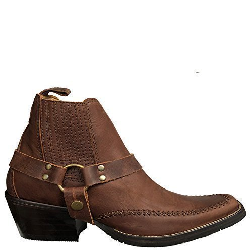 Brunello's Montana Men's Leather Snip Toe Western Boot with Low Cut- In Camel (Camel Leather Cowboy Boots)