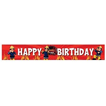 Amazon.com: Sam el bombero fiesta de cumpleaños Banner: Toys ...